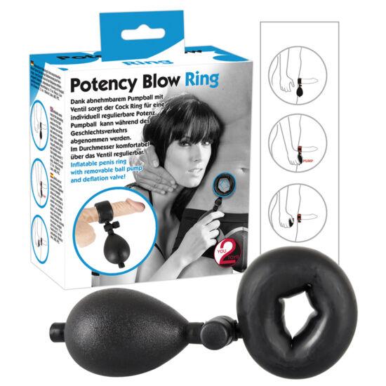 Méretre pumpálható péniszgyűrű - fekete